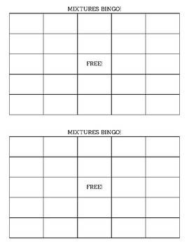 Mixtures Vocabulary Bingo Cards