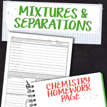 Mixtures and Separations Chemistry Homework Worksheet