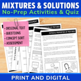 Mixtures and Solutions Activities | Comprehension Unit | D