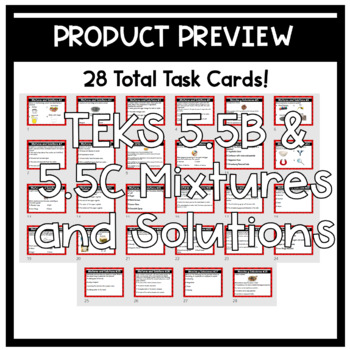 Mixtures and Solutions English Task Cards