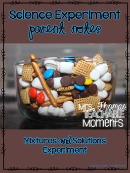 FREEBIE Mixtures and Solutions Experiment Notes (Science)