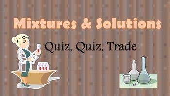 Mixtures and Solutions Grade 5 Kagan Quiz Quiz Trade cards