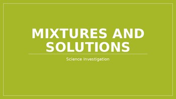 Mixtures and Solutions Lab