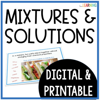 Mixtures and Solutions Lesson {with Notes Sheet}