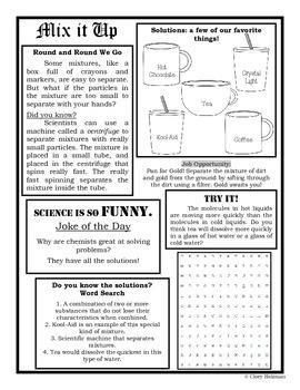 Mixtures & Solutions Newspaper
