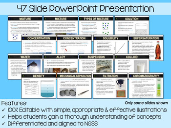 Mixtures and Solutions PowerPoint, Notes & Exam (Differentiated and Editable)
