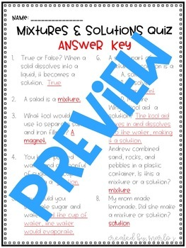 Mixtures and Solutions Quiz