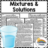Mixtures and Solutions Reading Comprehension Passages | Di