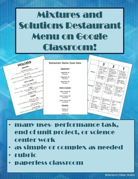 Mixtures and Solutions Restaurant Menu Google Classroom Science Project
