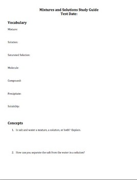 Mixtures and Solutions Study Guide