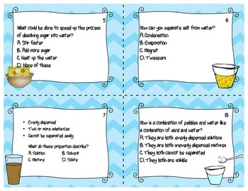 Mixtures and Solutions Task Cards Board Game