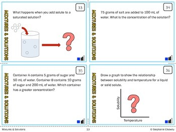Mixtures and Solutions Task Cards