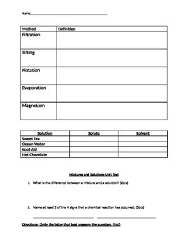 Mixtures and Solutions Study Guide and Test