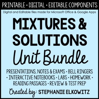 Mixtures and Solutions Unit Bundle