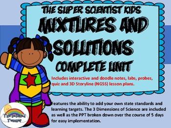Mixtures and Solutions Unit w/PPT Doodle Notes Editable 3D Lesson Plans