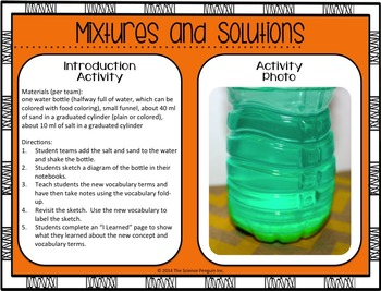 Mixtures and Solutions Vocabulary Lesson