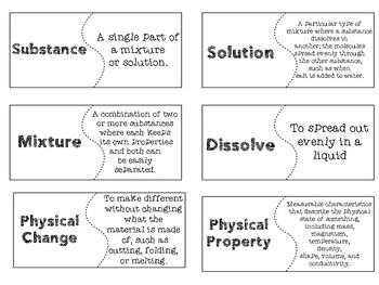 Mixtures and Solutions Vocabulary Posters and Activities