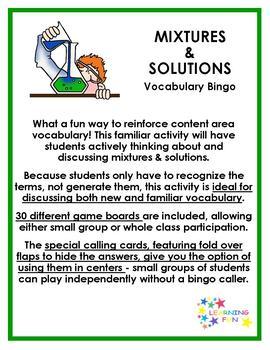 Mixtures and Solutions Vocaulary Bingo