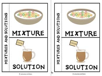 Mixtures and solutions-Interactive science notebook foldable