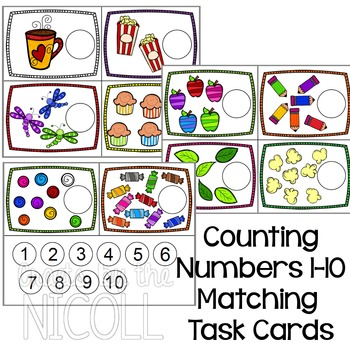 Milk Lid Counting Task Cards