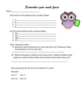 Multiplication Fact Review