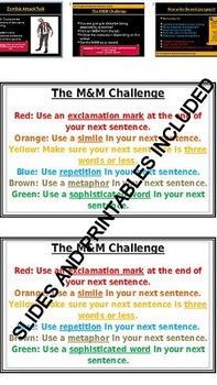 M&M Task Card Descriptive Writing Activity