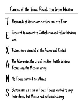 Mnemonic - Causes of the Texas Revolution from Mexico