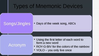 Mnemonic Devices First Day of School Activity