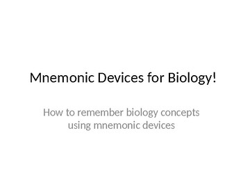 Mnemonic Devices for Biology