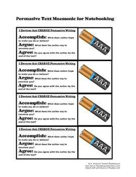 Mnemonic Handout for Persuasive Texts