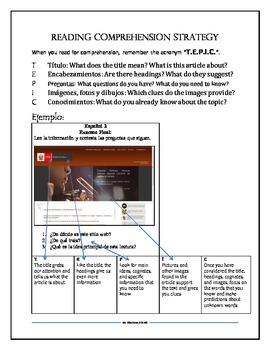 Spanish Reading Comprehension Mnemonic Handout
