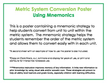Mnemonic Metric System Conversion Poster