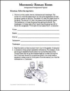 Mnemonic Roman Room Activity Template and Rubric