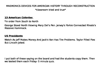 Mnemonics Devices for American History Through Reconstruction
