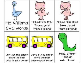 Mo WIllems CVC, CCVC and CVCC Word Card Game