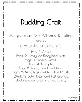Mo Willems' Book Companion: Duckling Craft