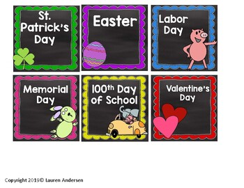 Chalkboard and Mo Willems Inspired Calendar Set
