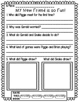 Mo Willems Comprehension Questions