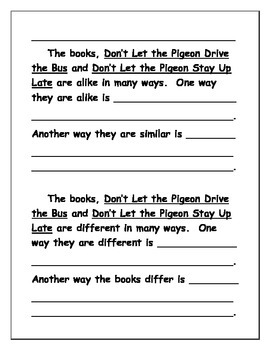 """Mo Willems """"Don't Let the Pigeon...""""  Integrated Reading & Writing"""