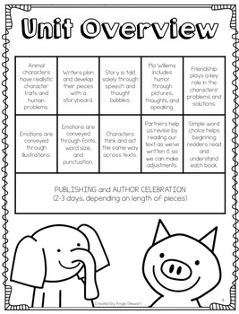 Mo Willems Elephant and Piggie Writing Workshop Writing Unit
