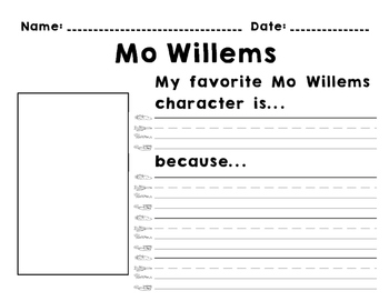 Mo Willems - Favorite Character Opinion Writing