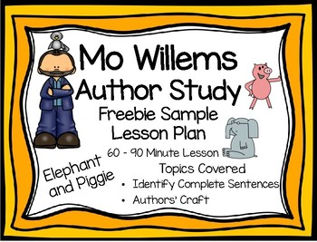 Mo Willems Freebie Elephant and Piggie Lesson Plan