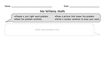Mo Willems Math Word Problems