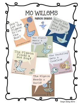 Mo Willems' Pigeon Author Study Unit and Math/ Literacy Center Bundle
