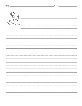 Mo Willems - Pigeon Story Handwriting Paper