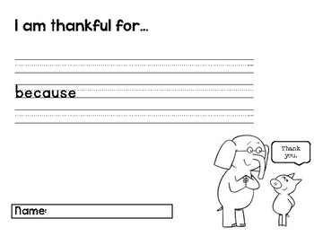 Mo Willems The Thank You Book Comprehension Activities