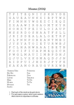 Moana (2016) Word Search (Characters and Locations)