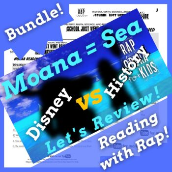 Moana Activities and Passage, Reading Comprehension Bundle Using Parody Song