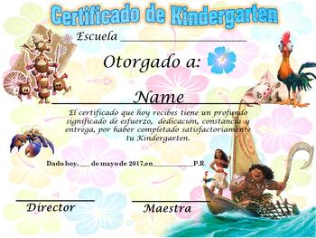 Moana Achievement Award Spanish & English version Editable!!!