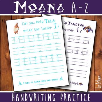 Moana Complete Alphabet Handwriting Worksheet Set